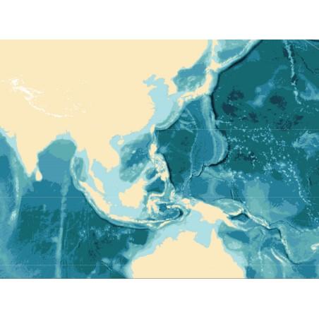 Batygraficzna mapa mórz i oceanów - 130 x 100 cm