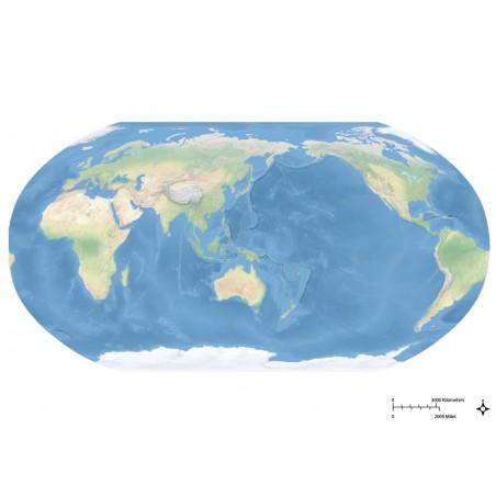 Krajobrazowa mapa świata - Ocean Spokojny - 65x 50 cm
