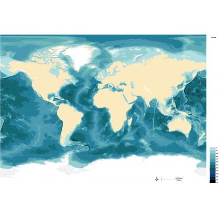 Batygraficzna mapa mórz i oceanów - 200 x 135 cm