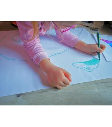 Biała mata do rysowania i wyklejania - 65x50 cm