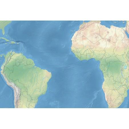 Krajobrazowa mapa świata - Atlantyk - 130x100 cm