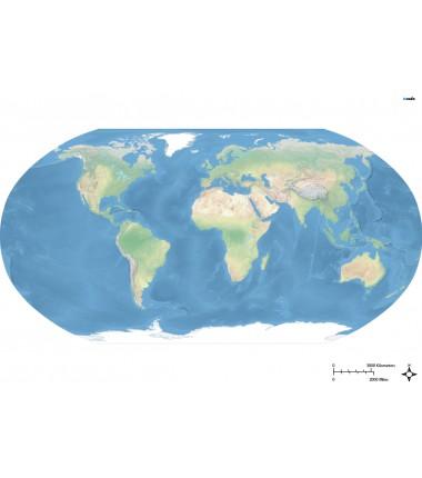 Krajobrazowa mapa świata - Atlantyk - 65 x 50 cm