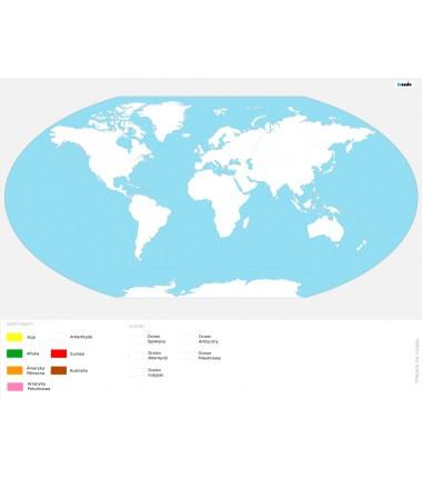 Mapa świata - kontynenty i oceany - kolorowanka - 65 x 50 cm