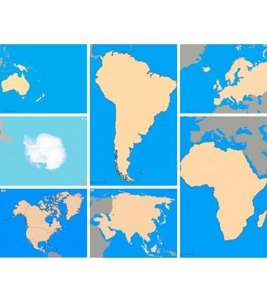 Zestaw map konturowych - 65x50cm - kontynenty