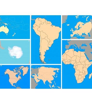 Zestaw szkolny map politycznych - 130 x 100 cm - kontynenty