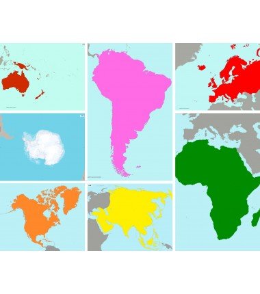 Zestaw map Montessori 65 x 50 cm - kontynenty