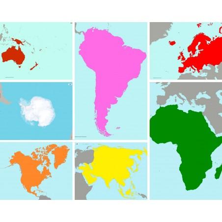 Zestaw szkolny map Montessori - 130 x 100 cm - kontynenty
