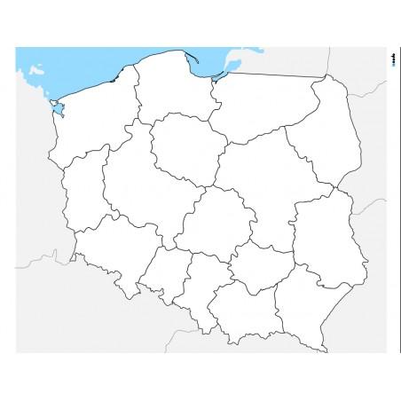 Mapa Polski - 100 x 130 cm - mapa administracyjna, tło