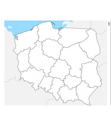 Mapa Polski - 65x50 cm - mapa administracyjna, tło