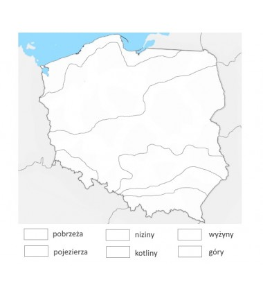 Mapa Polski - krainy geograficzne - 65x50 - mata do kolorowania