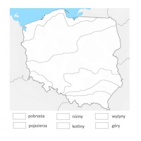 Mapa Polski - krainy geograficzne - 65 x 50 cm - mata do kolorowania