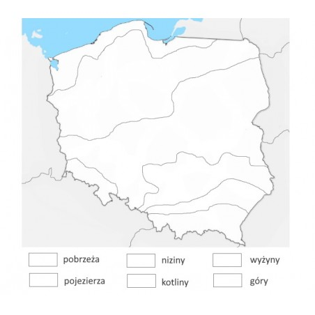 Mapa Polski - krainy geograficzne - 130 x 100 cm - mata do kolorowania