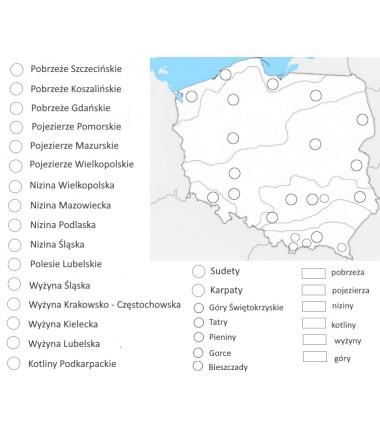Mapa Polski - ukształtowanie terenu - 65x50 cm - mata do kolorowania