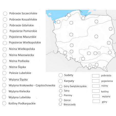 Mapa Polski - ukształtowanie terenu - 65 x 50 cm - mata do kolorowania