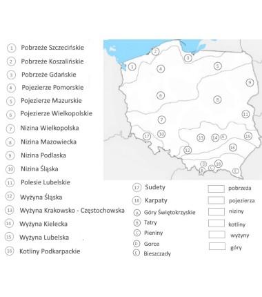 Mapa Polski - ukształtowanie terenu - 130 x 100 cm - mata do kolorowania z numerami