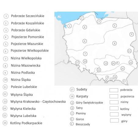 Mapa Polski - ukształtowanie terenu - 65 x 50 cm - mata do kolorowania z numerami