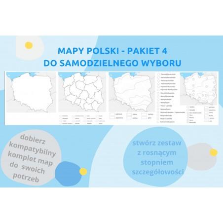 Mapy Polski - pakiet 4 map do wyboru - zmywalna mata 33 x 132 cm
