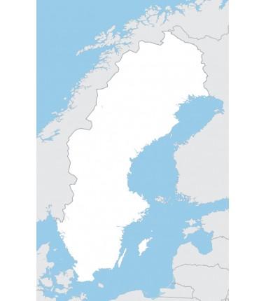 Szwecja - mapa konturowa - 130 x 100 cm