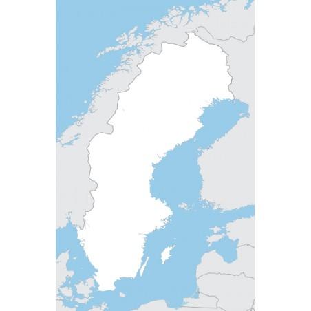 Szwecja - mapa konturowa - 65 x 50 cm
