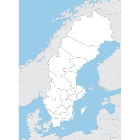 Szwecja - mapa administracyjna - 65 x 50 cm