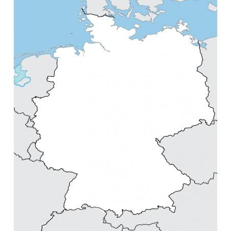 Niemcy - mapa konturowa - 65x50 cm