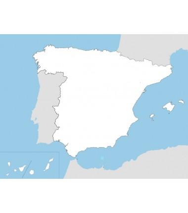 Hiszpania - mapa konturowa - 130 x 100 cm