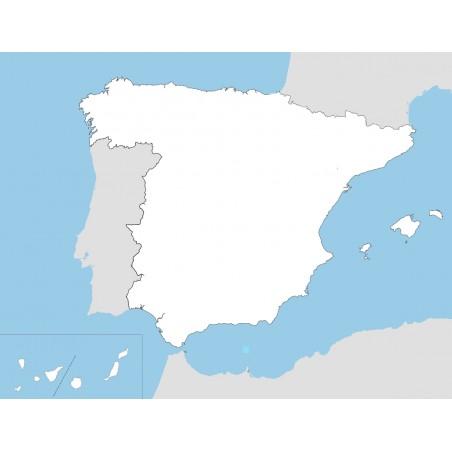 Hiszpania - mapa konturowa - 65x50 cm