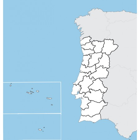 Portugalia - mapa administracyjna - 65 x 50 cm
