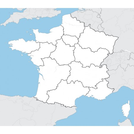 Francja - mapa administracyjna - 130 x 100 cm