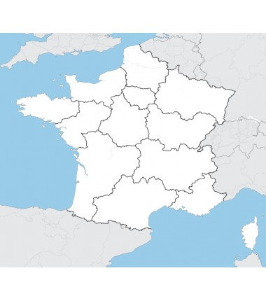 Francja - mapa administracyjna - 65 x 50 cm