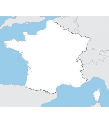 Francja - mapa konturowa - 65x50 cm