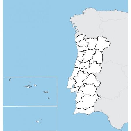 Portugalia - mapa administracyjna - 130 x 100 cm