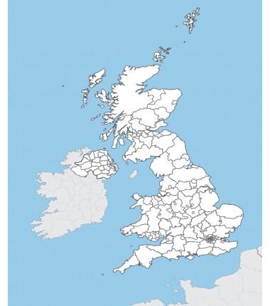 Wielka Brytania - mapa administracyjna - 65x50 cm