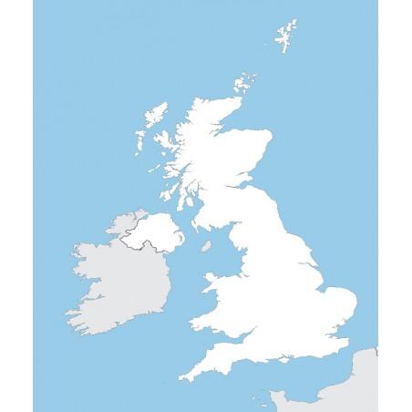 Wielka Brytania - mapa konurowa - 130 x 100 cm