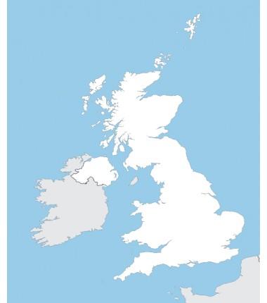 Wielka Brytania - mapa konturowa - 65x50 cm