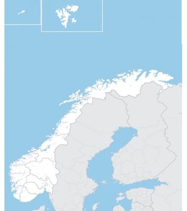 Norwegia - mapa administracyjna - 65x50 cm