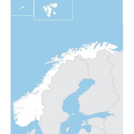 Norwegia - mapa konturowa - 65x50 cm