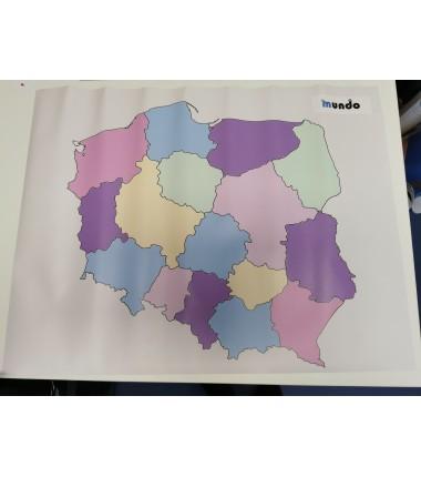 OUTLET - Mapa Polski - 65 x 50 cm - mapa administracyjna kolor