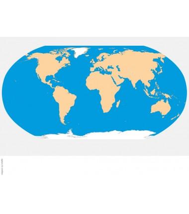 World Map - 65 x 50 cm - washable contour map