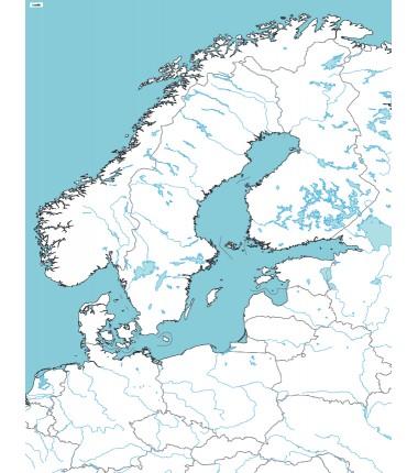 Morze Bałtyckie - mapa konturowa - 65 x 50 cm