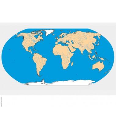 Hydrograficzna mapa świata - 40x67 cm