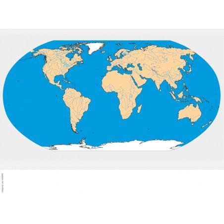 Mapa świata hydrograficzna - 65x50 cm
